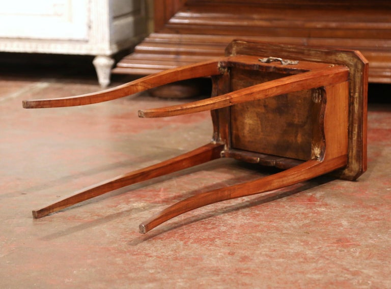 19th Century French Louis XV Carved Walnut Side Table with Drawer For Sale 6