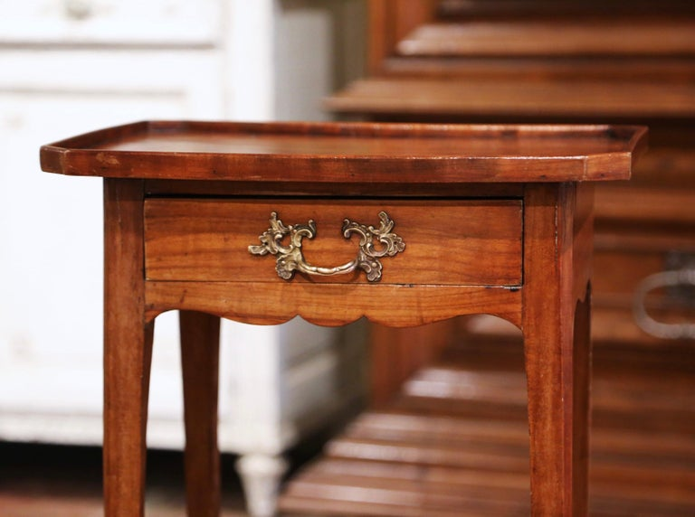 Patinated 19th Century French Louis XV Carved Walnut Side Table with Drawer For Sale