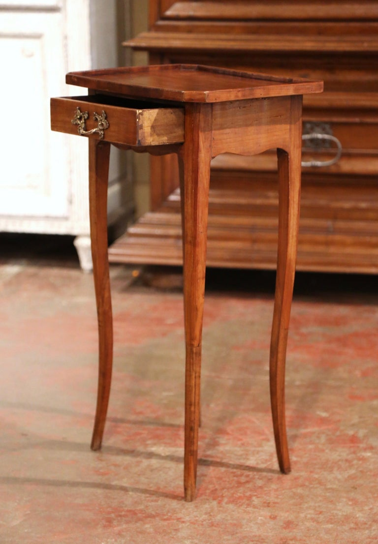 19th Century French Louis XV Carved Walnut Side Table with Drawer For Sale 2