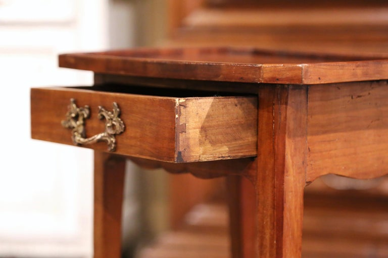 19th Century French Louis XV Carved Walnut Side Table with Drawer For Sale 3