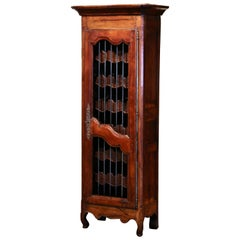 19th Century French Louis XV Carved Walnut Thirty Five Wine Bottles Cabinet