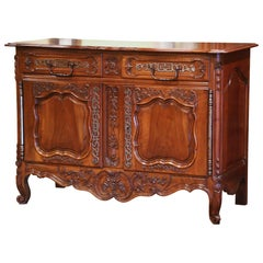 19th Century, French Louis XV Carved Walnut Two-Door Buffet from Provence