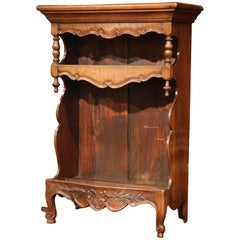 19th Century French Louis XV Carved Walnut Wall Shelf from Provence