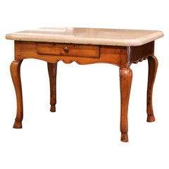 19th Century French Louis XV Cherry and Beige Marble Side Table from Burgundy