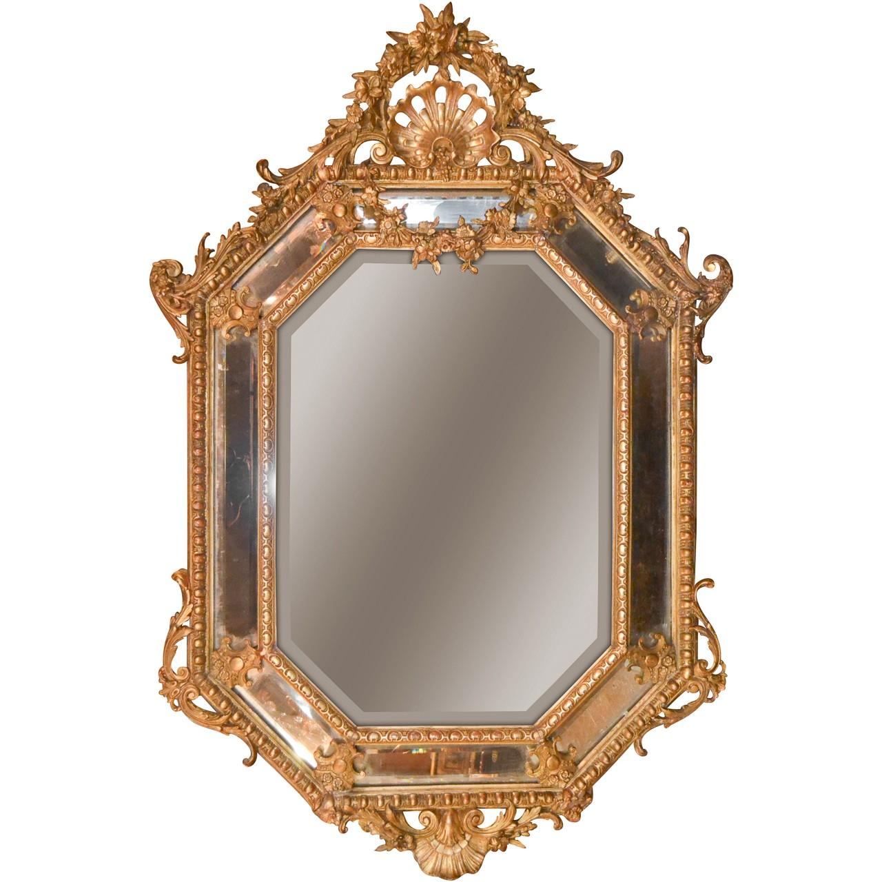 19th Century French Louis XV Cushion Mirror