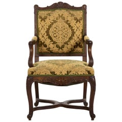 19th Century French Louis XV Fauteuil Upholstered Antique Armchair