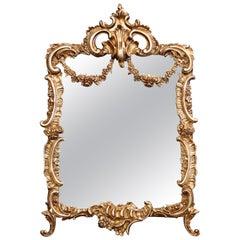 19th Century French Louis XV Gilt Bronze Free Standing Vanity Table Mirror