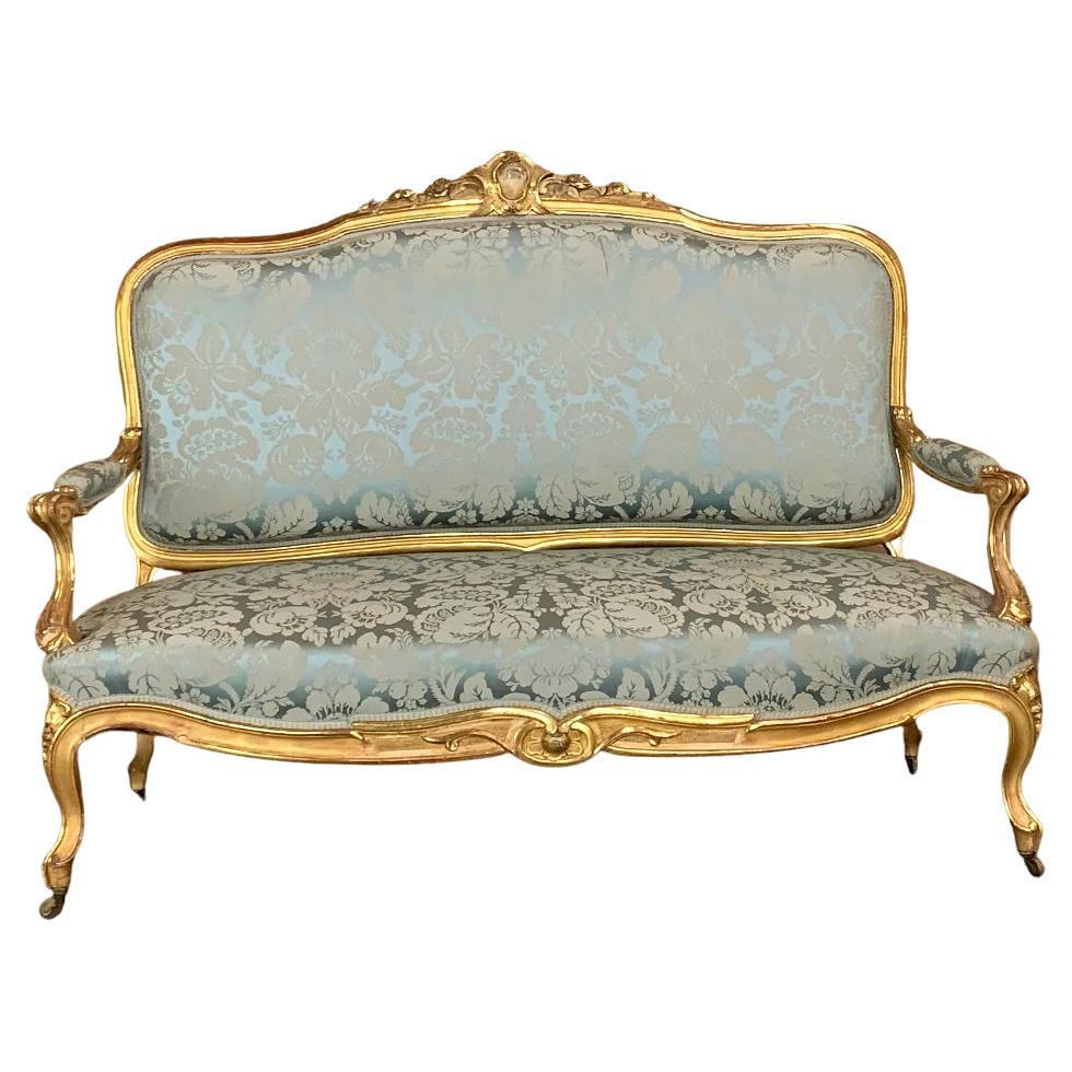 19th Century French Louis XV Giltwood Canape or Sofa