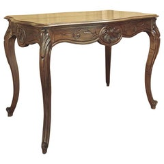 19th Century French Louis XV Hand Carved Walnut End Table