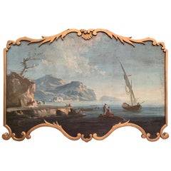 19th Century French Louis XV Hand Painted Paneling Trumeau Painting