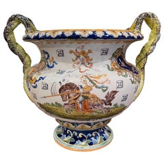 19th Century French Louis XV Hand Painted Porcelain Cache Pot with Crest Motifs
