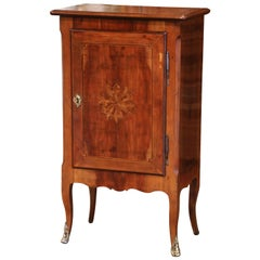 19th Century French Louis XV Inlaid Walnut Confiturier Cabinet from Paris