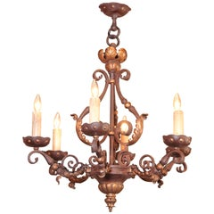 19th Century, French Louis XV Iron Verdigris and Gilt Six-Light Chandelier