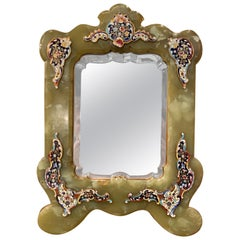 19th Century French Louis XV Marble and Champlevé Vanity Table Mirror