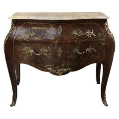 19th Century French Louis XV Marble-Top Bombe Commode