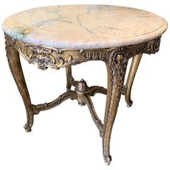 19th Century French Louis XV Marble Top Centre Table