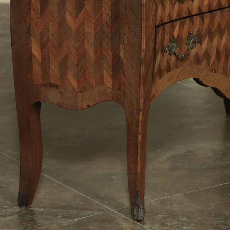 19th Century French Louis XV Marble-Top Marquetry Bombe Commode For Sale 7