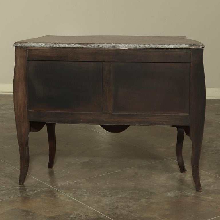 19th Century French Louis XV Marble-Top Marquetry Bombe Commode For Sale 9