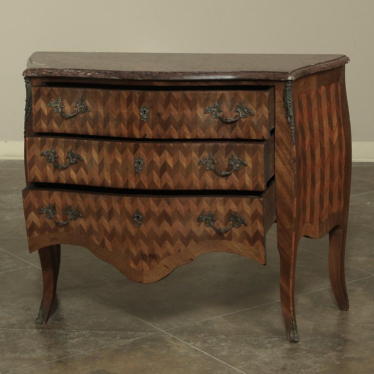 Hand-Crafted 19th Century French Louis XV Marble-Top Marquetry Bombe Commode For Sale