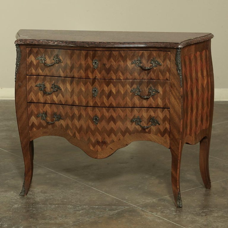 Late 19th Century 19th Century French Louis XV Marble-Top Marquetry Bombe Commode For Sale