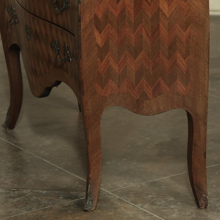 19th Century French Louis XV Marble-Top Marquetry Bombe Commode For Sale 2