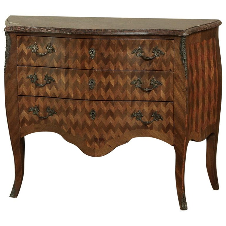 19th Century French Louis XV Marble-Top Marquetry Bombe Commode For Sale