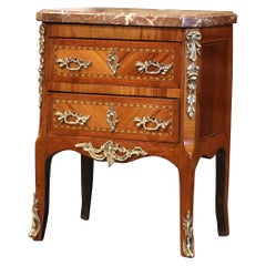 19th Century French Louis XV Marquetry and Bronze Miniature Commode with Marble