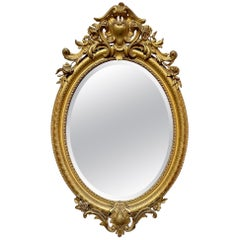 19th Century French Louis XV Oval Giltwood Mirror