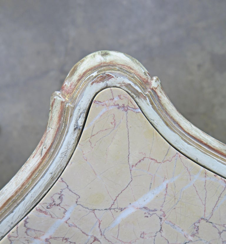 19th Century French Louis XV Painted and Parcel-Gilt Table with Marble Top For Sale 9
