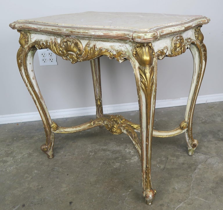 19th Century French Louis XV Painted and Parcel-Gilt Table with Marble Top For Sale 4