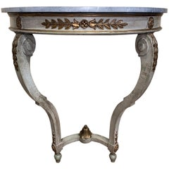 19th Century French Louis XV Painted Demi Lune Console Table with Marble Top