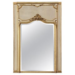 19th Century French Louis XV Painted and Gilded Trumeau Mirror