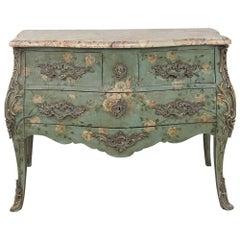 19th Century French Louis XV Painted Marble Top Commode