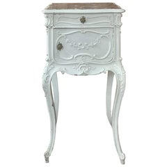 19th Century French Louis XV Painted with garland Marble Top Nightstand
