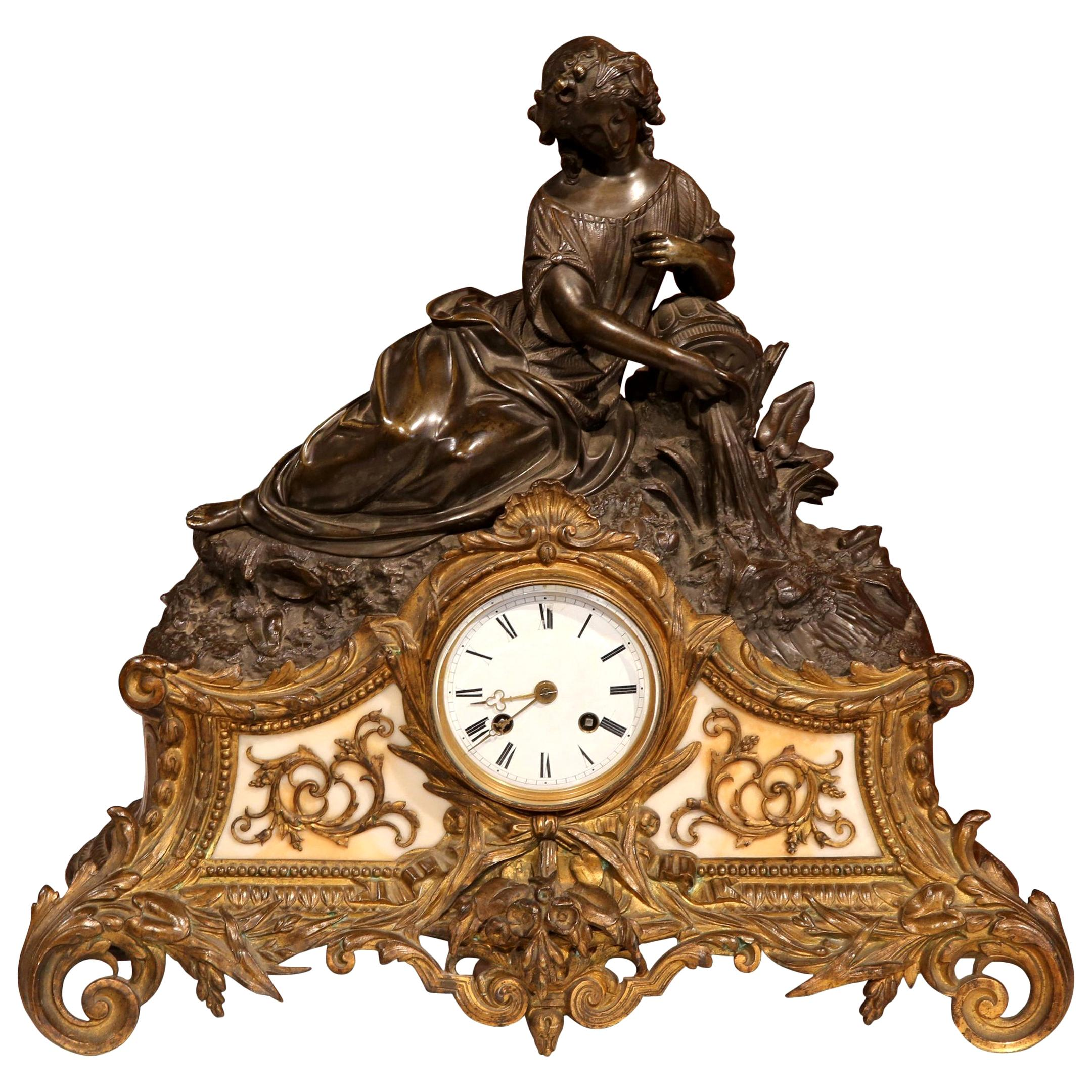19th Century French Louis XV Patinated Bronze and Marble Mantel Clock
