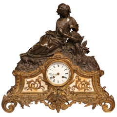 19th Century French Louis XV Patinated Bronze Doré and Marble Mantel Clock