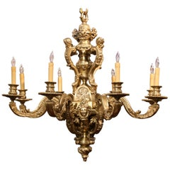 19th Century French Louis XV Patinated Bronze Dore Eight-Light Chandelier