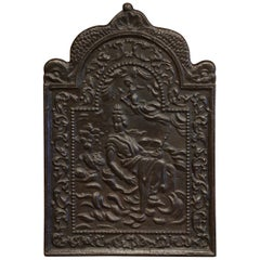 19th Century French Louis XV Polished Iron Fireback with Goddess and Dolphins
