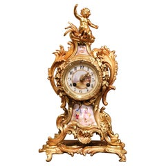 19th Century French Louis XV Rococo Bronze Dore and Porcelain Mantel Clock