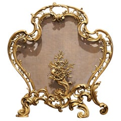 19th Century French Louis XV Rococo Carved Patinated Bronze Fireplace Screen