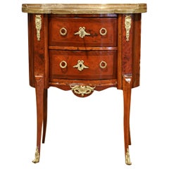 19th Century French Louis XV Rosewood Commode Chest Nightstand with Marble Top