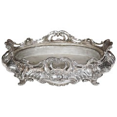 19th Century French Louis XV Silver Plated Oval Jardinière Center Piece