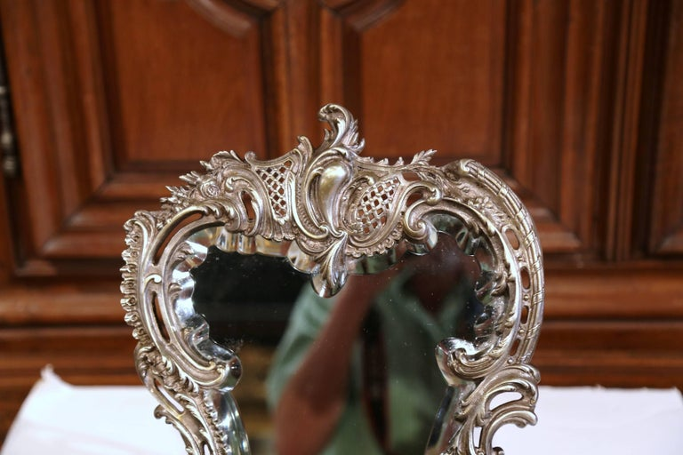 Beveled 19th Century French Louis XV Silvered Bronze Free Standing Vanity Table Mirror For Sale