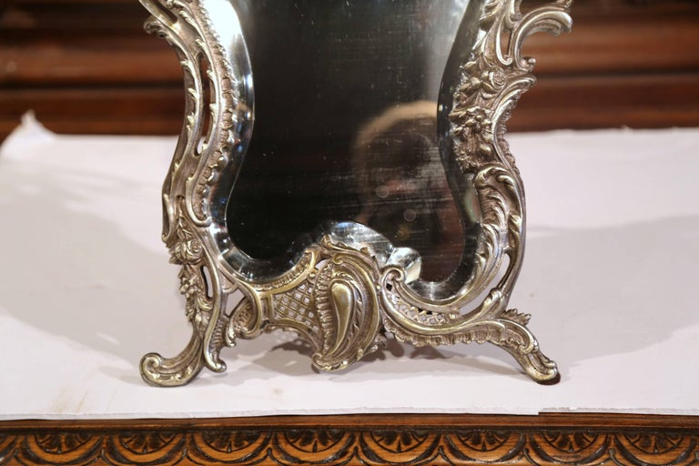 Silver Plate 19th Century French Louis XV Silvered Bronze Free Standing Vanity Table Mirror For Sale