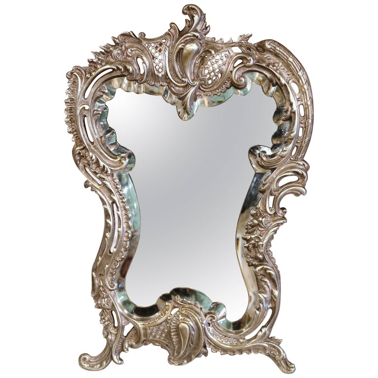 19th Century French Louis XV Silvered Bronze Free Standing Vanity Table Mirror For Sale
