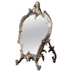 19th Century French Louis XV Silvered Bronze Free Standing Vanity Table Mirror