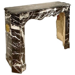 19th Century French Louis XV Style Black and White Veined Marble Mantle