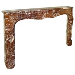 19th Century French Louis XV Style 'Rosso Merlino' Marble Mantle