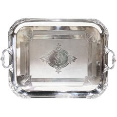 19th Century French Louis XV Stamped Silver Plated Tray with Repousse Decor