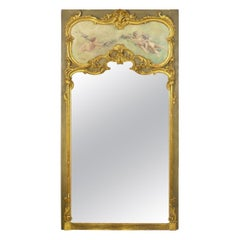 19th Century French Louis XV Style Antique Pier Mirror with Cherub Oil Painting
